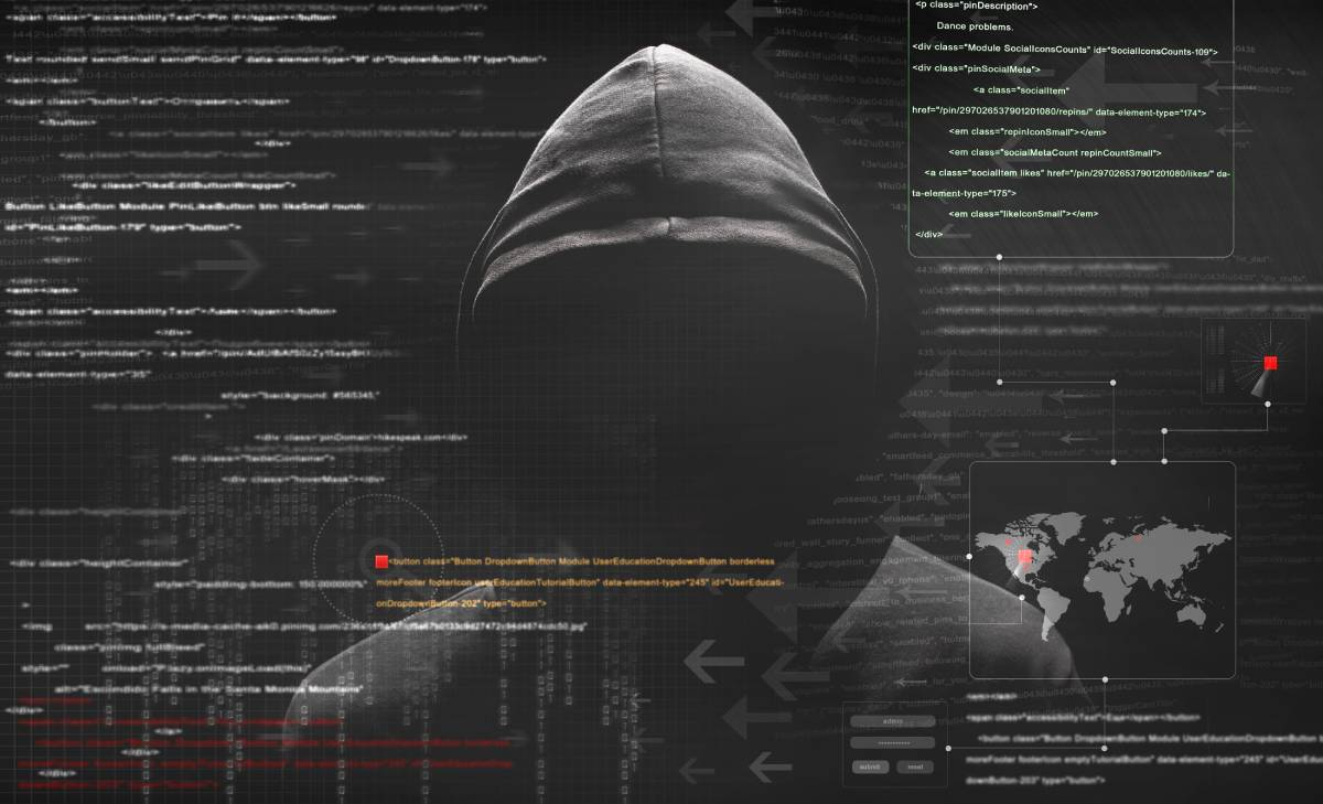 A hooded figure with code in the background representing a hacker