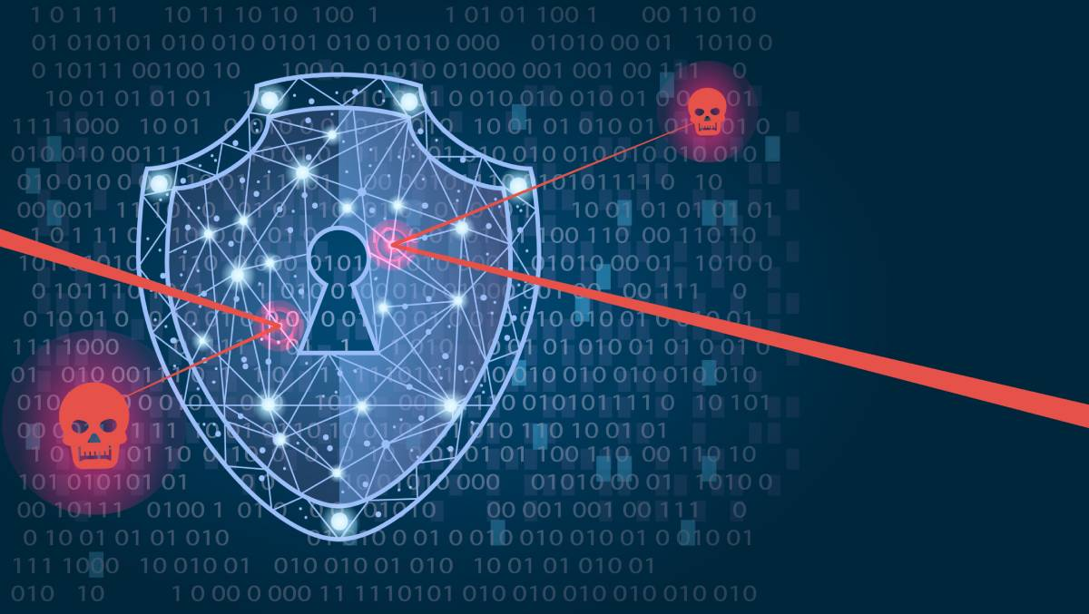 A shield deflecting red skulls, symbolizing protection from cyber threats