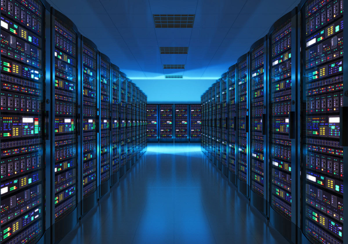 Server Room Interior in Blue Lighting, Data Storage Center and Cloud Computing Concept