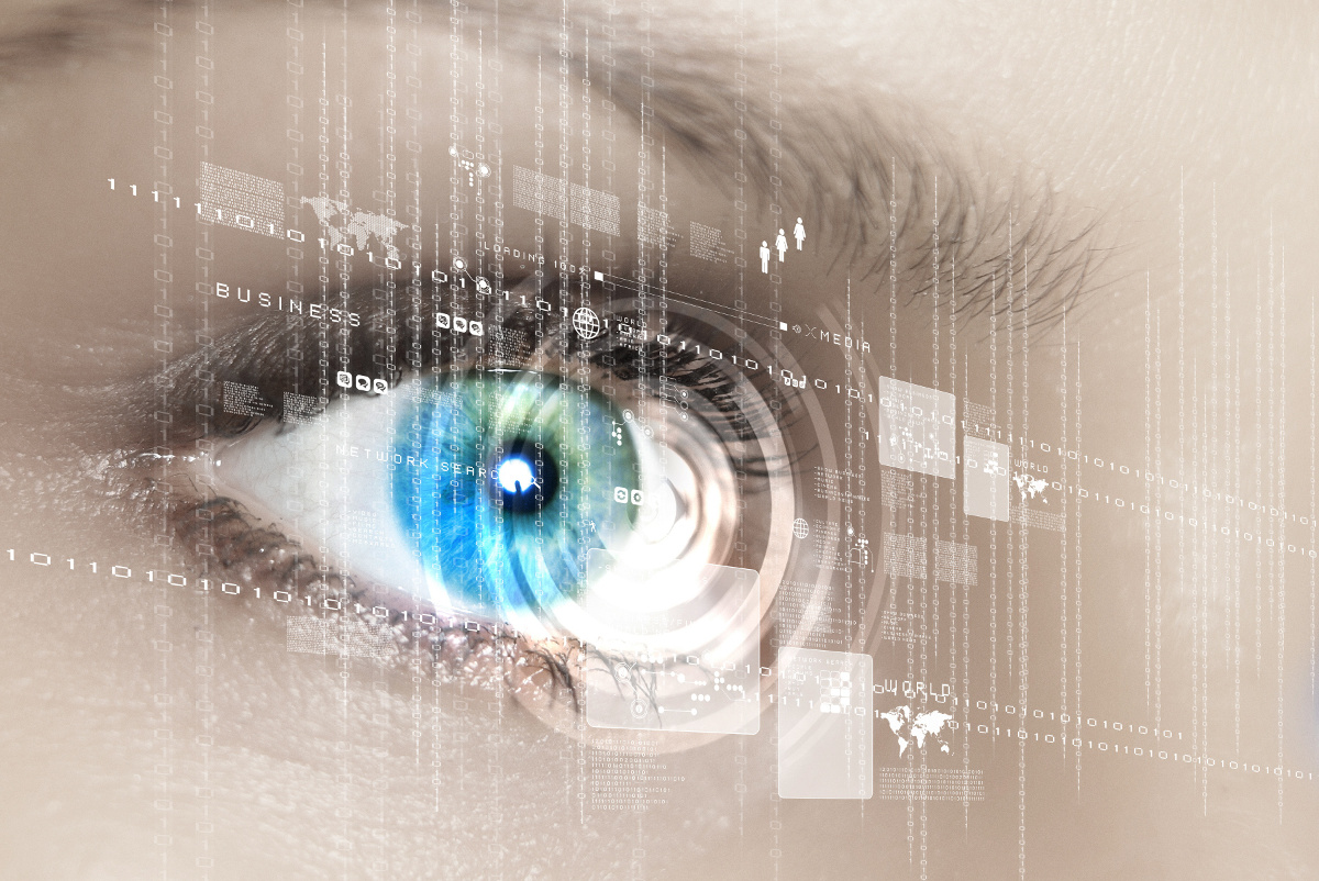 Close Up of Eye Viewing Digital Information, Cyber Security Concept