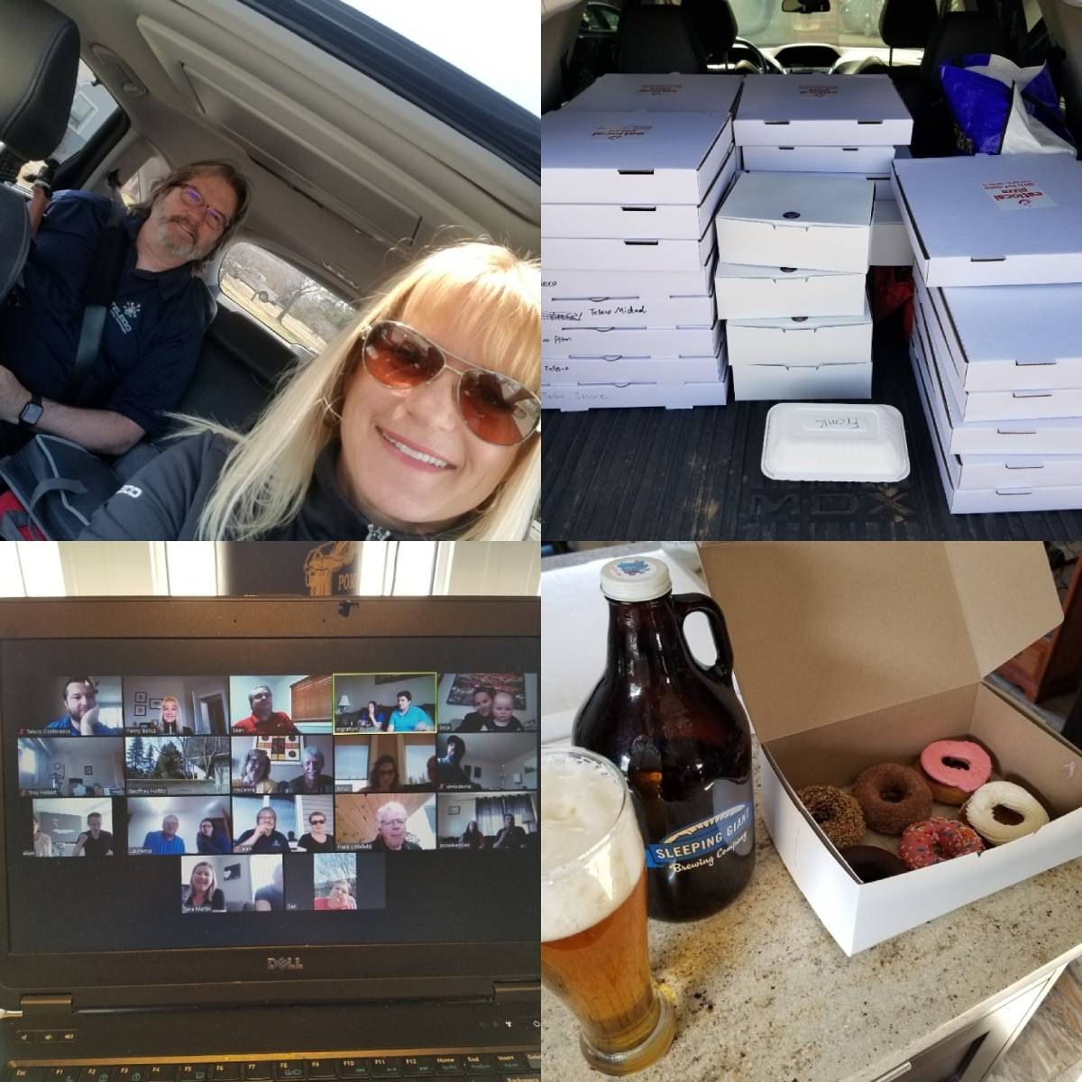 Four image display of a smiling blond woman, pizza, a video chat with many people, and donuts and beer.
